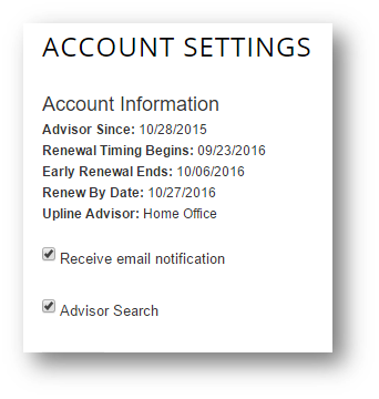 Account settings in FAQs