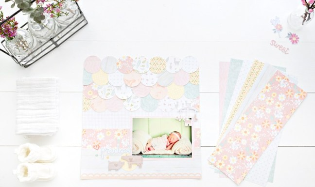 Baby Girl Scrapbook Layout Using The Custom Cutting System